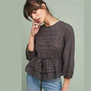 New Anthropologie Trovata Megan Eyelet Blouse